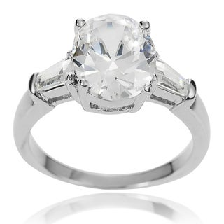 Journee Collection Brass Oval-cut Cubic Zirconia Bridal-style Ring