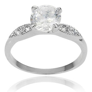 Journee Collection Brass White Round Pave-set Cubic Zirconia Bridal-style Ring