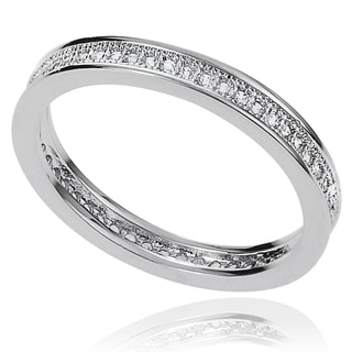 Journee Collection Brass Pave-set Cubic Zirconia Bridal-style Ring