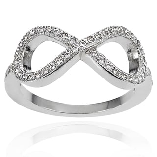 Journee Collection Brass Cubic Zirconia Infinity Ring