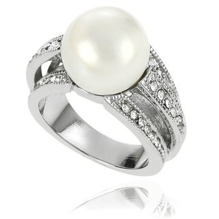 Journee Collection Brass Faux Pearl and Cubic Zirconia Bridal-style Ring