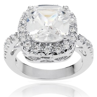 Journee Collection Brass White Round Cushion-cut Cubic Zirconia Bridal-style Ring