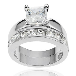Journee Collection Brass Square-cut Cubic Zirconia Bridal-style Ring Set