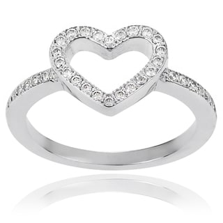 Journee Collection Brass Cubic Zirconia Heart Ring