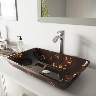 VIGO Rectangular Brown/ Gold Fusion Glass Vessel Sink and Otis Faucet Set