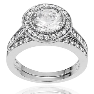 Journee Collection Brass White Cubic Zirconia Bridal-style Ring Set
