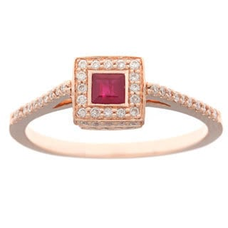 Neda Behnam Diamonds for a Cure 14k Gold Ruby and 1/3ct TDW Diamond Ring (H-I, SI1-SI2)
