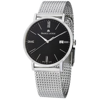 Maurice Lacroix Men's 'Eliros' Black Dial Stainless Steel Quartz Watch