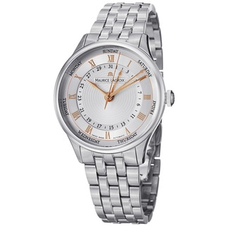 Maurice Lacroix Men's MP6507-SS002-111 'MasterPiece' Silver Dial Day Date Steel Watch