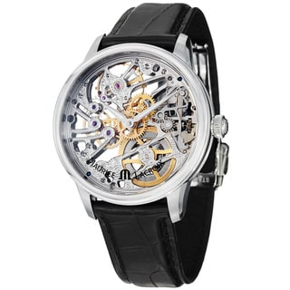 Maurice Lacroix Men's 'MasterPiece' Skeleton Dial Black Strap Watch