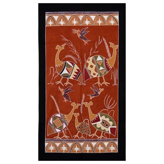 Hand-painted Black and Brown 'Guinea Fowls' African Tapestry (Zambia)