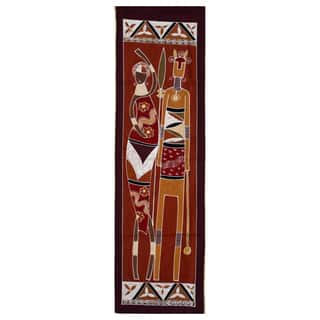 Hand-painted Multi-hued 'African Lady and Warrior' Tapestry (Zambia)