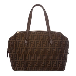 Fendi 'Boston' Tobacco/ Chestnut Zucca Jacquard Bag