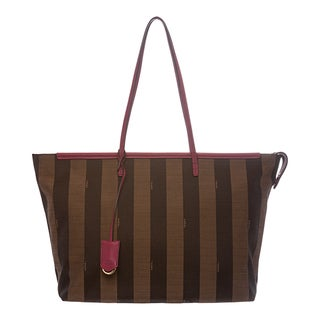 Fendi Tobacco/ Fuchsia Pequin Striped Roll Tote