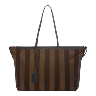 Fendi Tobacco/ Blue Pequin Striped Roll Tote