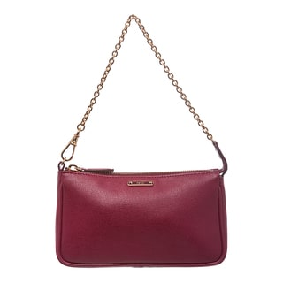 Fendi 'Crayon' Black Cherry Saffiano Leather Pouchette