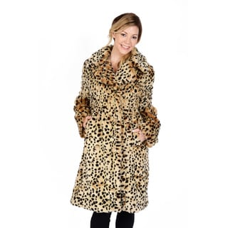 Excelled Women's Double Breasted Animal Print Trench