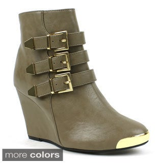 Mark & Maddux Women's 'Stana-08' Chrome-toe Buckle Wedge Booties