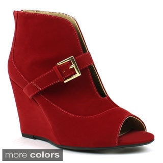 Mark & Maddux Women's 'Stana-05' Slit-cut Front Wedge Booties