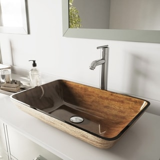VIGO Rectangular Amber Sunset Glass Vessel Sink and Faucet Set