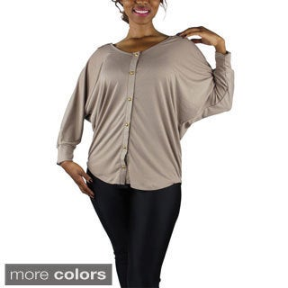 Women's Plus Size Scoop Neck Button Up Blouse
