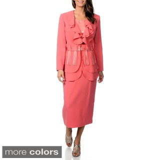 J. Lauren International Women's Ruffled Collar 3-piece Skirt Suit