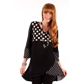 Women's Polka-Dot Spliced Rayon Top