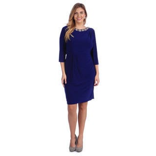 Alex Evenings Women's Plus Blue Knee-length Evening Dress