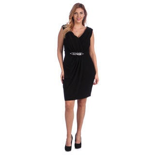 Alex Evenings Women's Plus Black Sleeveless Cocktail Dress