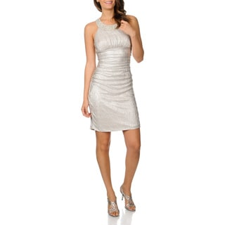 Cachet Women's Taupe Metallic Cocktail Dress