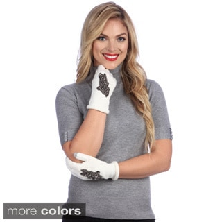 Women's Black-and-Ivory 'Smartouch' Touchscreen Compatible Gloves