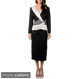 J. Lauren International Women's Satin Colorblocked 3-piece Skirt Suit