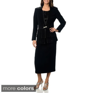 J. Lauren International Women's 'Carwash' 3-piece Peplum Skirt Suit