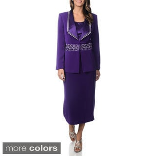 J. Lauren International Women's Rhinestone Trim 3-piece Skirt Suit