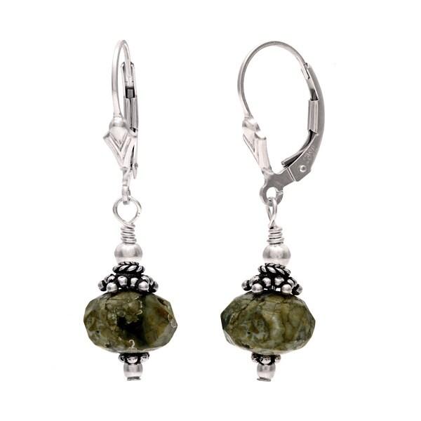 Lola's Jewelry Sterling Silver 'Amazonas' Green Jasper Dangle Earrings 11954778