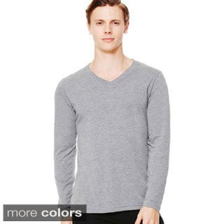 Men's Canvas Long Sleeve Tri Blend V-Neck