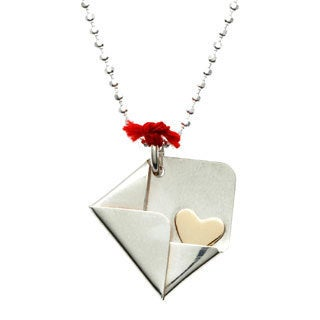 CHARMING LIFE Sterling Silver and Goldfill 'Declaration of Love' Envelope Charm Necklace