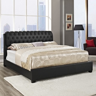 Francesca Black Button-tufted Bed Frame