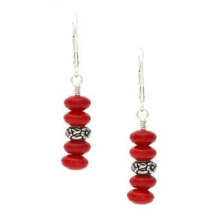 Charming Life Sterling Silver 'Red Garden' Coral Earrings