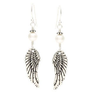 Charming Life LIFE Silver 'Archangel Wings' Freshwater Pearl Hook Earrings
