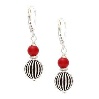 Charming Life Silver 'Machala Sun' Coral Earrings