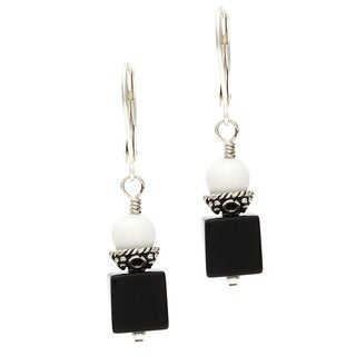 Charming Life Sterling Silver 'Niemeyer' Black Onyx and White Jade Cube Earrings