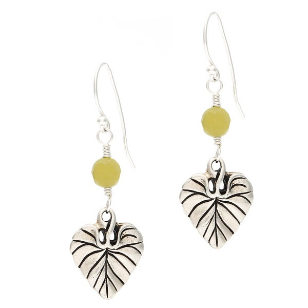 Lola's Jewelry Sterling Silver 'Leaf of Life' Jade Earrings 11954847