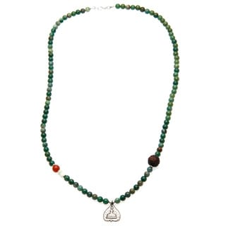 Charming Life Unisex 'Natural' Green Jade and Silver Buddha Charm Necklace