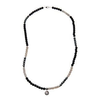 Charming Life Sterling Silver Unisex 'Classy in Black' Grey and Black Onyx Necklace