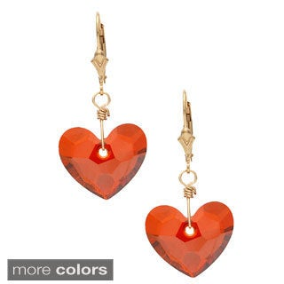 14k Goldfill 'In love' Heart Crystal Dangle Earrings
