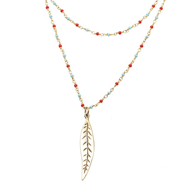 Charming Life Vermeil 'Manta Coral' Turquoise and Coral Layered Leaf Necklace