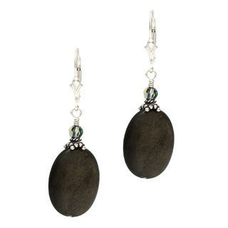 Charming Life Sterling Silver Golden Sheen Obsidian Oval Dangle Earrings