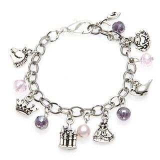 Charming Life Silver 'Princess' Crystal and Charms Adjustable Bracelet