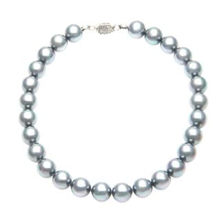 Charming Life Gray Pearls Statement Necklace (14 mm)